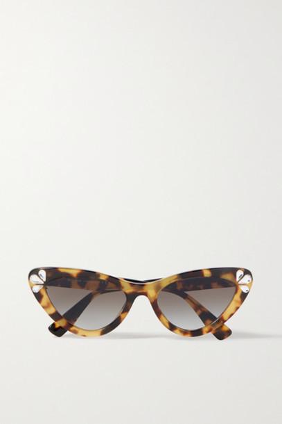 Miu Miu - Cat-eye Crystal-embellished Tortoiseshell Acetate Sunglasses