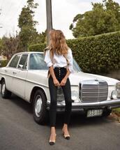 jeans,black skinny jeans,high waisted jeans,slingbacks,white shirt,sweater