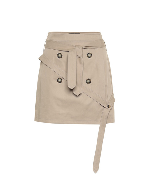 Rokh Cotton-twill miniskirt in beige