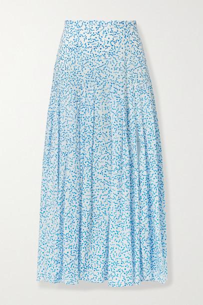 RIXO - Claire Printed Cotton And Silk-blend Midi Skirt - Blue