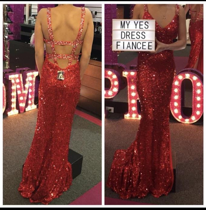 dress red sparkly prom dress