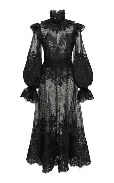 Zimmermann Ruffled Flocked Tulle Maxi Dress in black