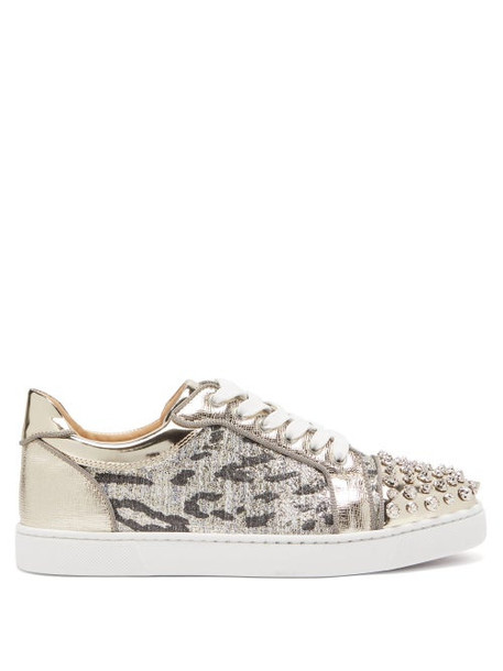 Christian Louboutin - Vieira Spike Embellished Tweed Trainers - Womens - Silver
