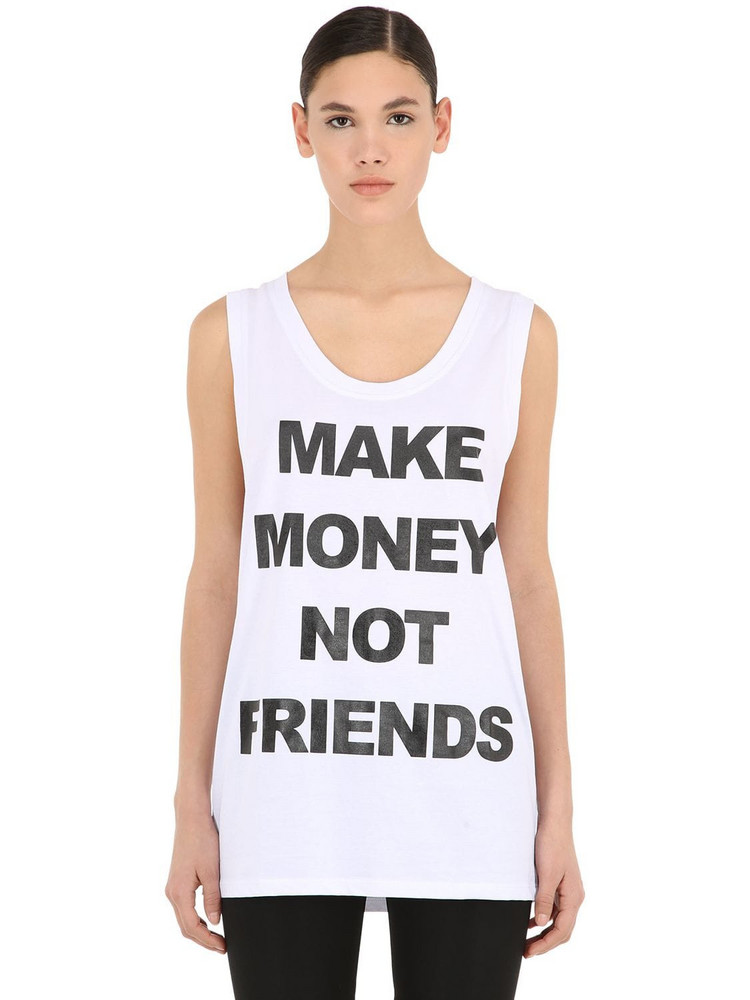 MAKE MONEY NOT FRIENDS Logo Print Cotton Jersey Tank Top in white