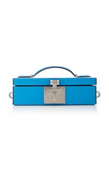 Oscar de la Renta Alibi Leather Minaudiere Box Clutch in blue