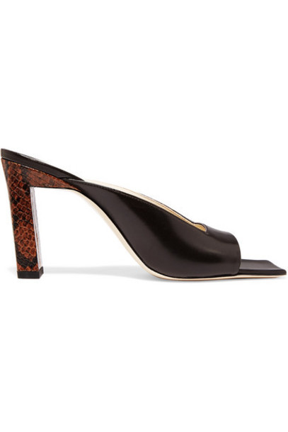 Wandler - Isa Smooth And Snake-effect Leather Mules - Brown