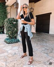 jumpsuit,black jumpsuit,denim jacket,flat sandals,shoulder bag