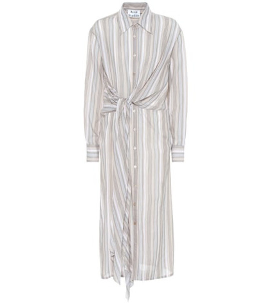 Acne Studios Striped cotton shirt dress in beige