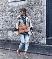 jeans,ripped jeans,ankle boots,crossbody bag,jacket,denim shirt
