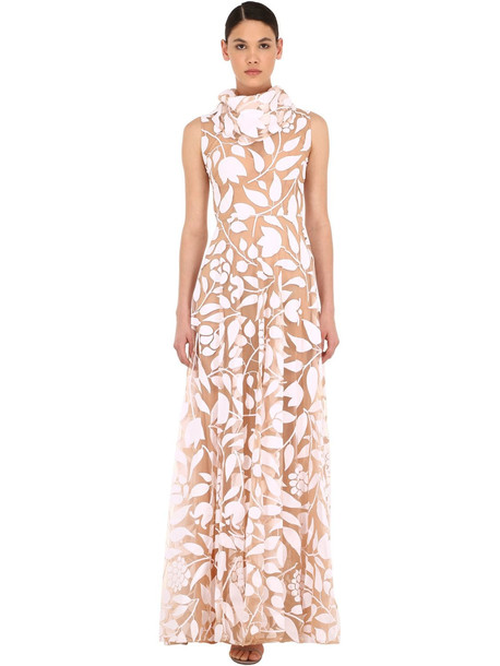 SANDRA MANSOUR Long Patterned Tulle Dress in white