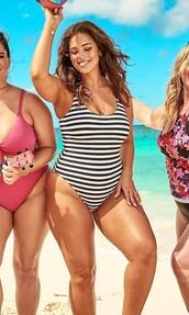 swimwear,black and white,stripes,striped swimwear,one piece swimsuit,curvy,plus size,plus size swimwear,ashley graham