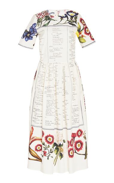 Oscar de la Renta Printed Cotton-Poplin Midi Dress Size: 0 in multi