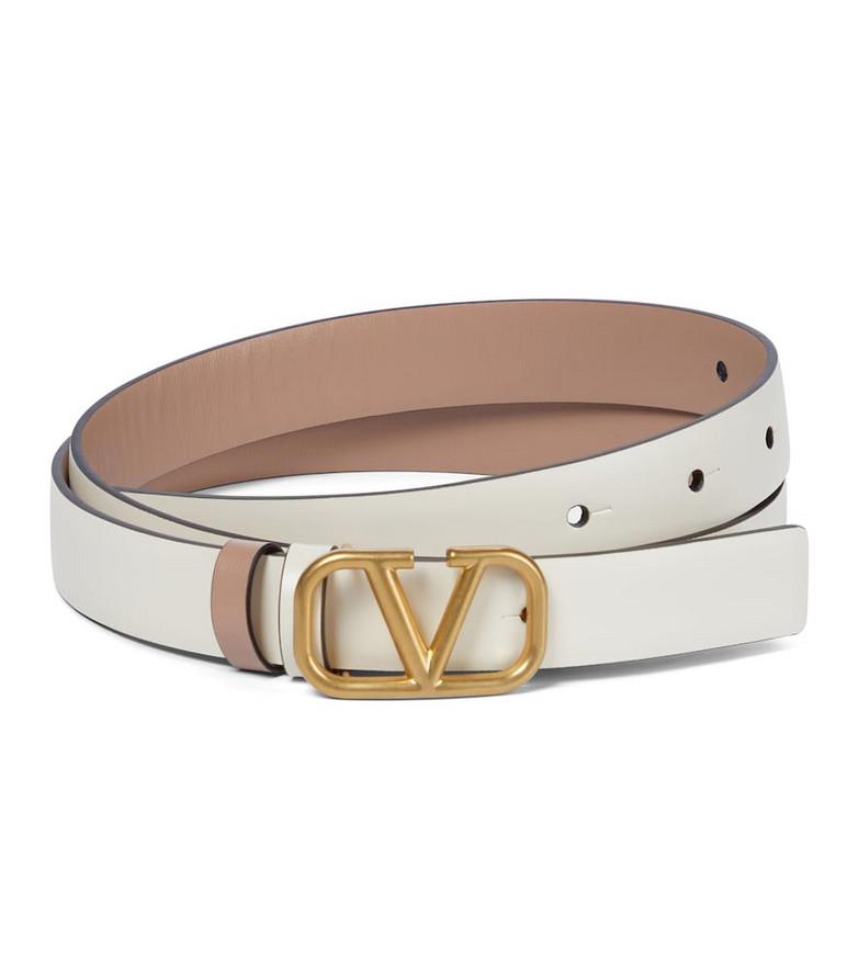 Valentino Garavani VLOGO leather belt in white