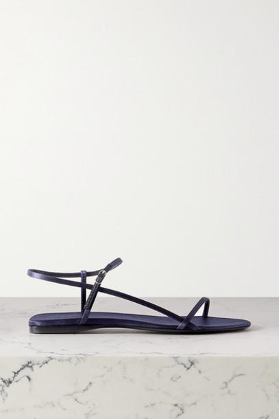 The Row - Bare Satin Sandals - Midnight blue