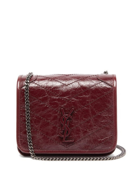 Saint Laurent - Niki Mini Leather Cross-body Bag - Womens - Burgundy