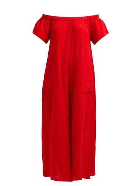 Mara Hoffman - Blanche Wide Leg Cotton Jumpsuit - Womens - Red