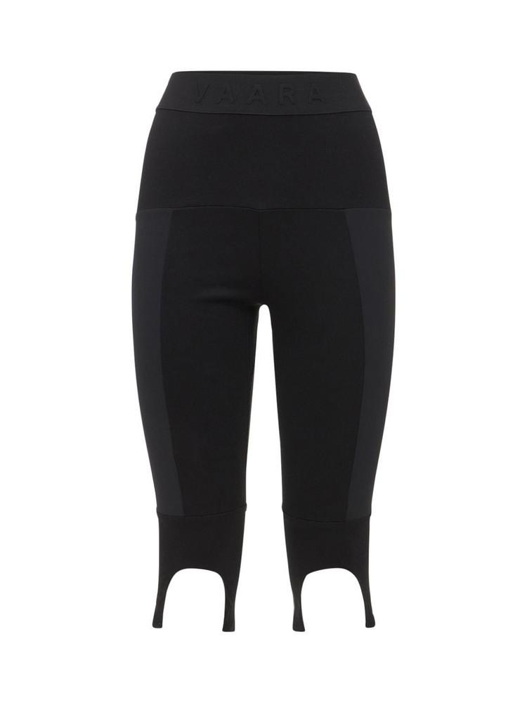 VAARA Patchwork Knee Length Leggings in black