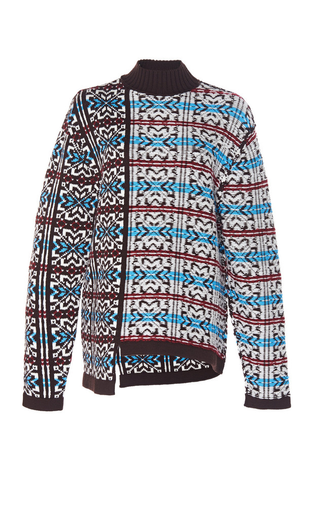 Rokh Notched-Hem Turtleneck Sweater in brown
