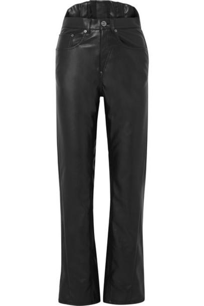 Pushbutton - Faux Leather Slim-leg Pants - Black