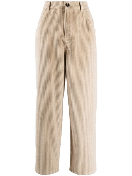 L'Autre Chose corduroy cotton cropped trousers in neutrals