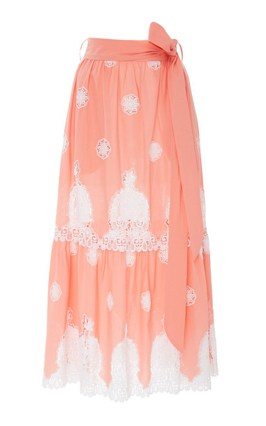 Miguelina Georgia Lace-Paneled Cotton Maxi Skirt in pink