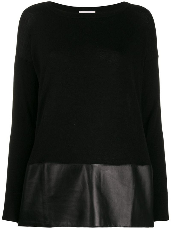 Snobby Sheep faux-leather hem jumper in black