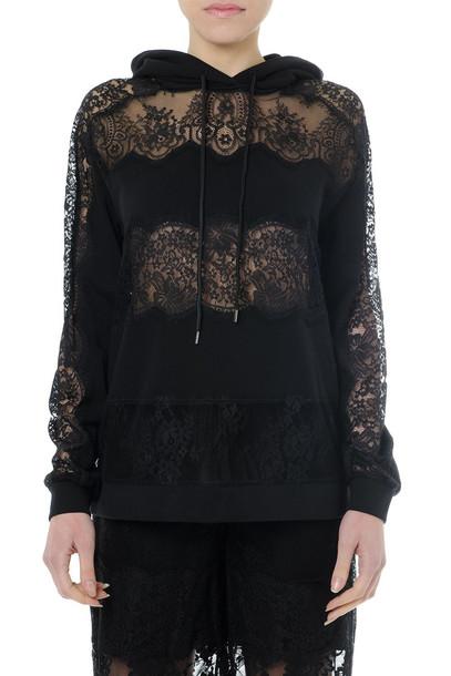 McQ Alexander McQueen Black Laced & Cotton Sweatshirt