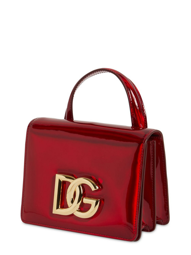 DOLCE & GABBANA Sm Dg 3.5 Leather Top Handle Bag in red