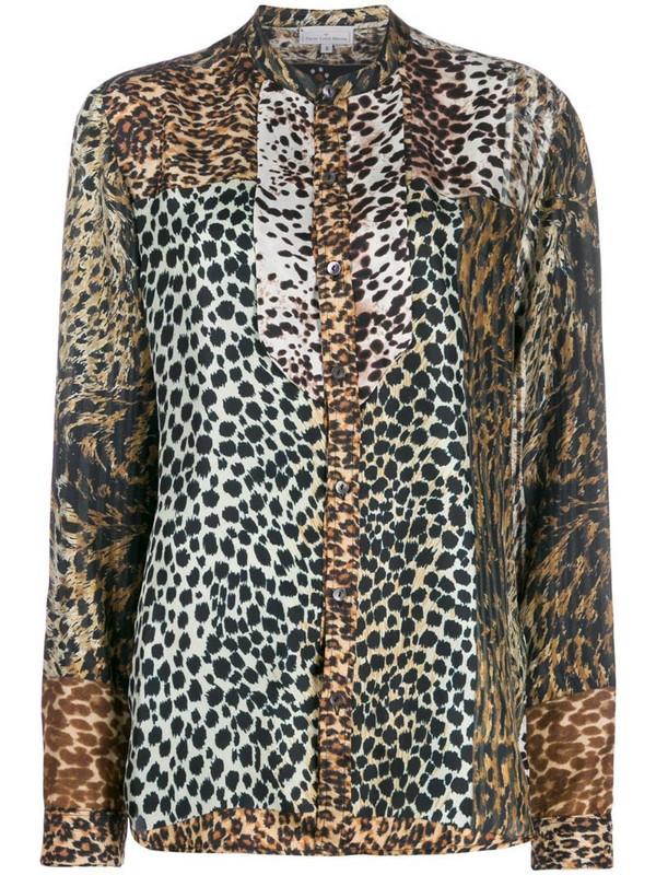 Pierre-Louis Mascia mixed animal-print shirt in brown