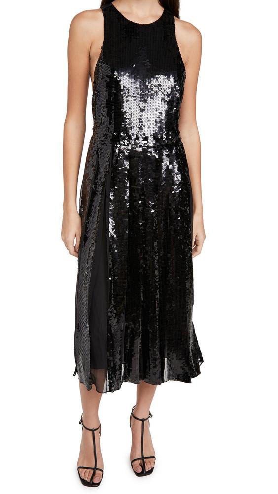 Tibi Eclair Sequin Beading Halter Dress in black