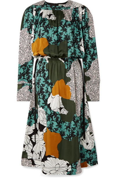 By Malene Birger - Niella Floral-print Satin Midi Dress - Green