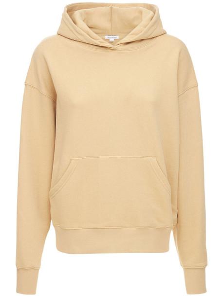 WEWOREWHAT Oversized Cotton Sweatshirt Hoodie in brown / beige