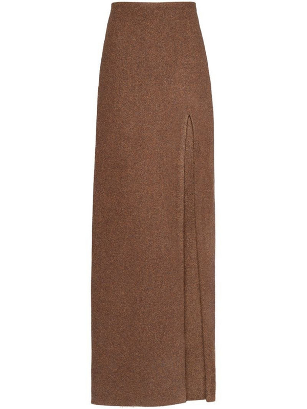 Miu Miu side-slit wool skirt in brown