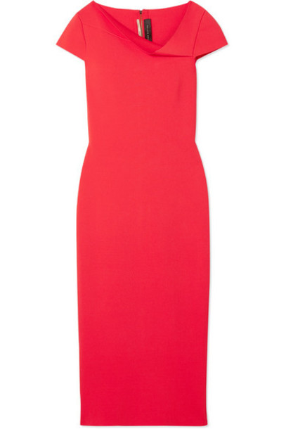 Roland Mouret - Keel Draped Woven Midi Dress - Red