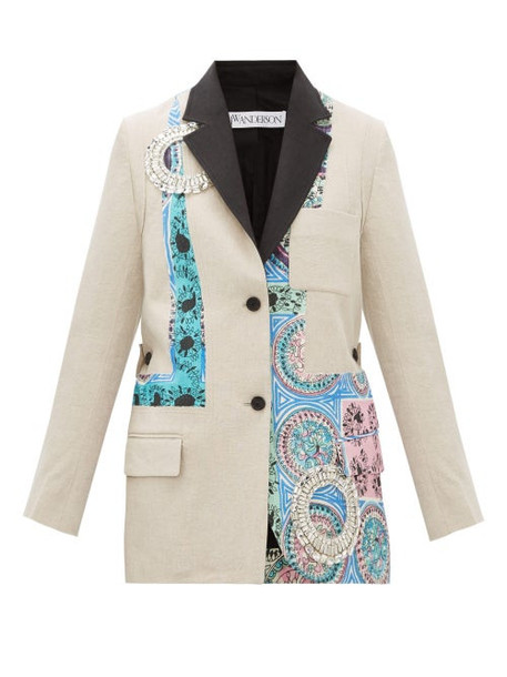 Jw Anderson - Mystic Paisley Crystal-embellished Linen Blazer - Womens - Beige Multi