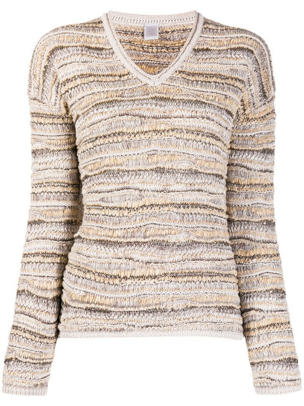 Eleventy v-neck crocheted jumper in neutrals