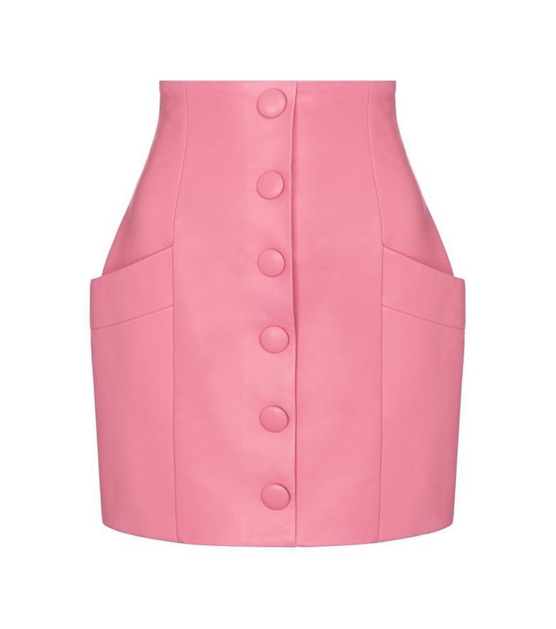 Balmain Leather miniskirt in pink