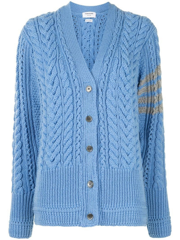 Thom Browne cable knit merino cardigan in blue