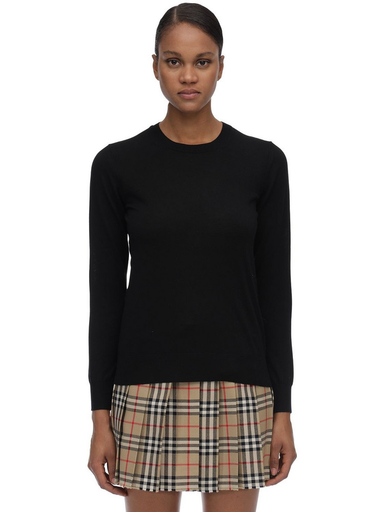 BURBERRY Merino Wool Knit Sweater in black