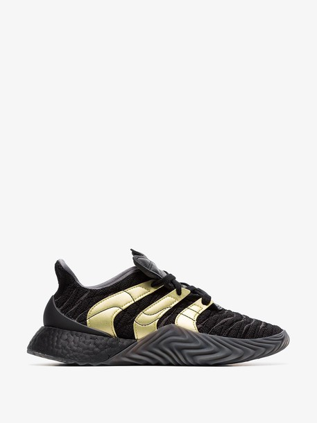 Adidas Black and Gold Striped Sobakov Boost Sneakers