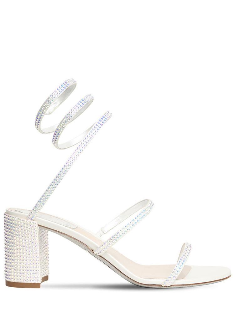 RENÉ CAOVILLA 65mm Embellished Satin Sandals in white