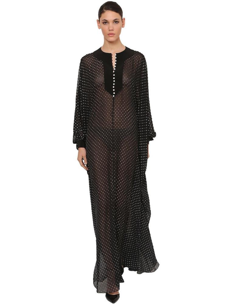 AZZARO Crystal Embellished Chiffon Maxi Dress in black / silver