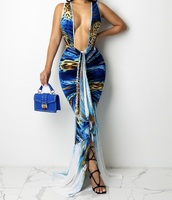 dress,blue dress,leopard print,feathers,halter dress,high split dress,maxi dress
