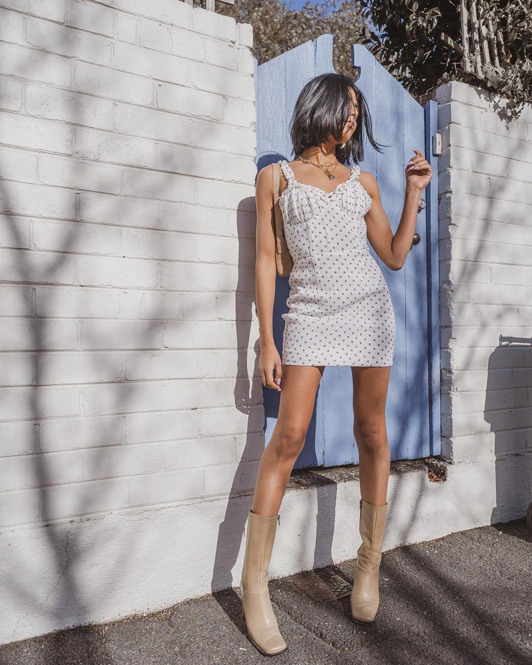 dress white dress mini skirt polka dots sleeveless dress knee high boots