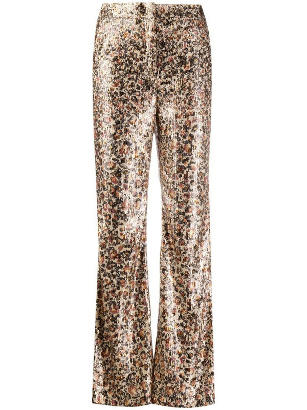 Dorothee Schumacher shiny leopard print flared trousers in neutrals