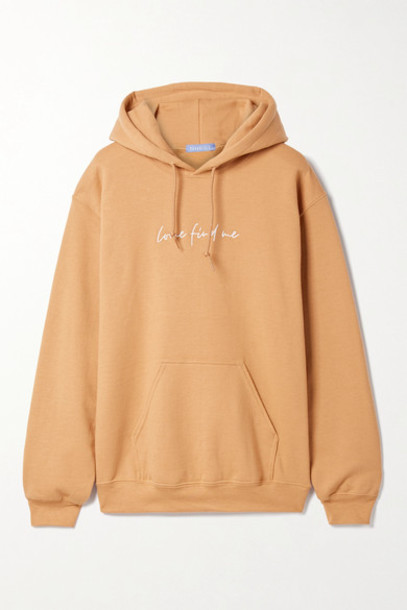 Paradised - Embroidered Cotton-blend Jersey Hoodie - Beige