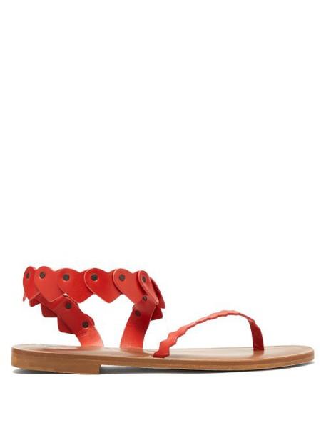 Álvaro Álvaro - Aruba Heart Strap Leather Sandals - Womens - Red