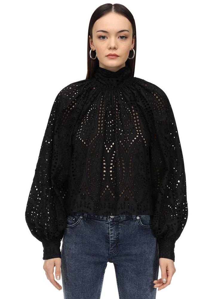 GANNI Broderie Anglaise Blouse W/bow in black