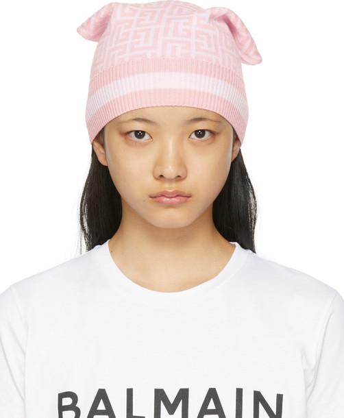 Balmain Pink Merino Monogram Beanie in rose