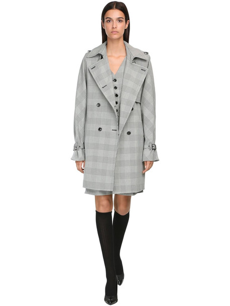 MAX MARA Double Breasted Prince Of Wales Coat in grey